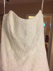 David's Bridal 'Strapless' size 14 new wedding dress front view close up on hanger
