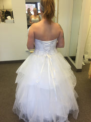 David's Bridal 'Jewel Strapless' size 12 new wedding dress back view on bride