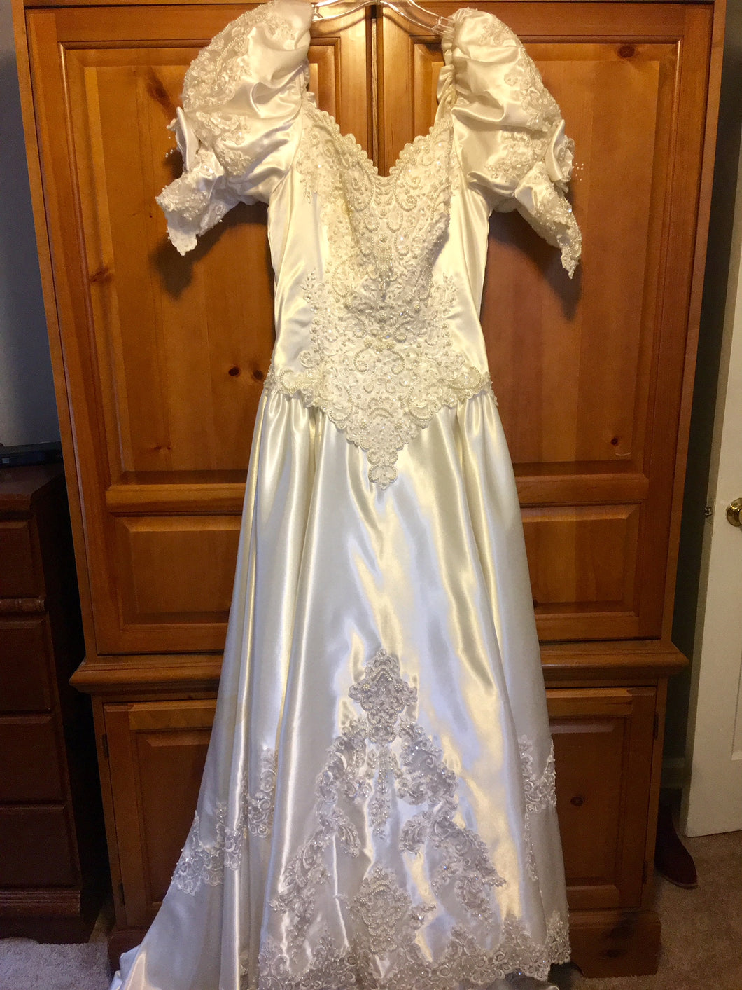 Mori Lee 'Princess' size 12 used wedding dress front view on hanger