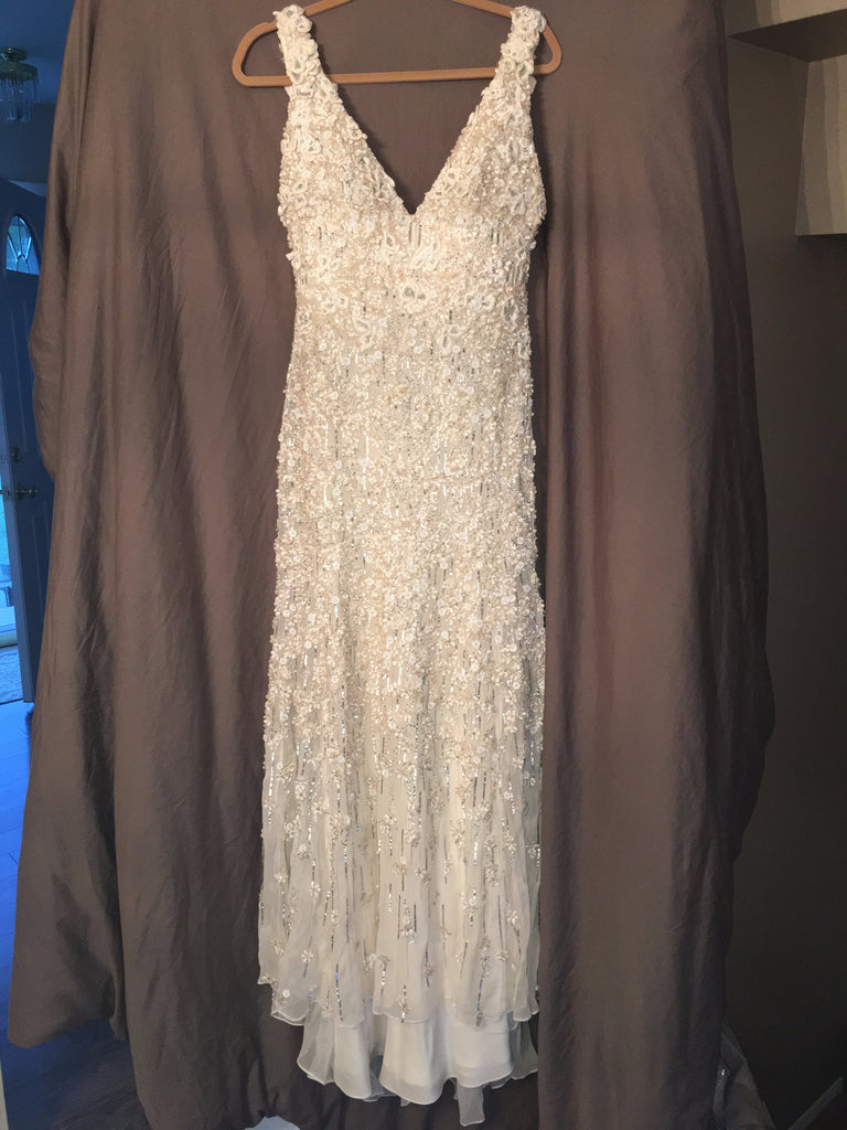Monique Lhuillier 'Chandler' size 8 used wedding dress front view on hanger