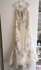 Lian Carlo '5875' size 10 sample wedding dress front view on hanger
