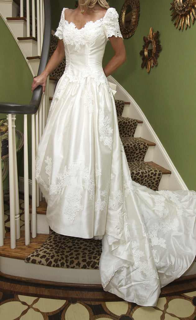 Priscilla of Boston Silk Fit And Flare With Bow - Priscilla of Boston - Nearly Newlywed Bridal Boutique - 2