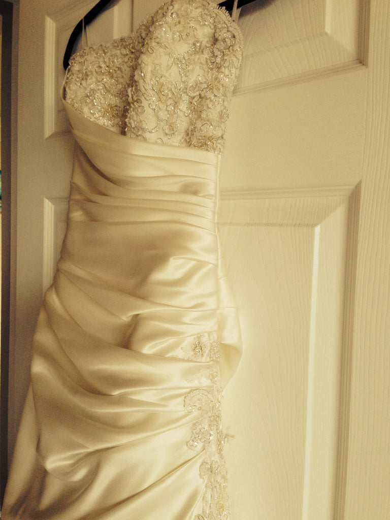 Custom Ivory Silk Strapless With Floral Beading - Custom - Nearly Newlywed Bridal Boutique - 4