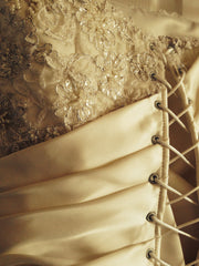 Custom Ivory Silk Strapless With Floral Beading - Custom - Nearly Newlywed Bridal Boutique - 5