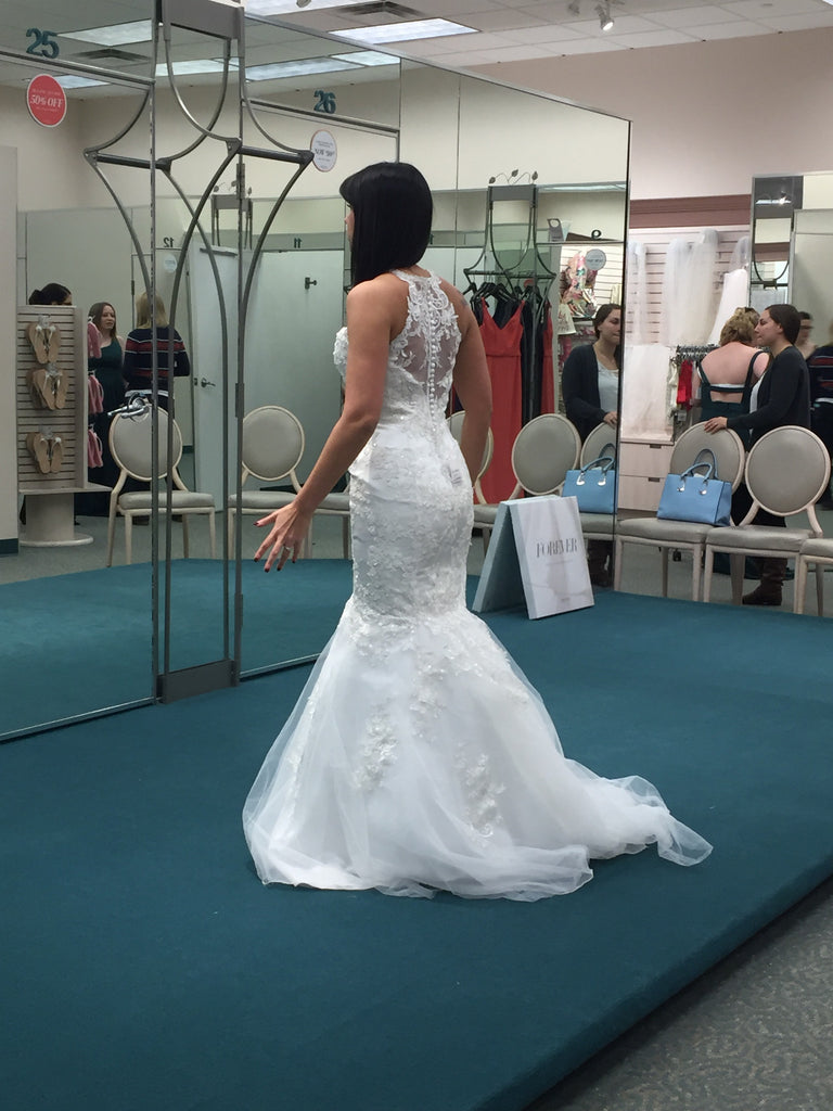 David's Bridal 'Jewel' size 6 new wedding dress back view on bride