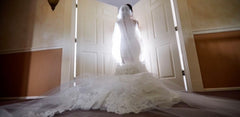 Pnina Tornai 'Wind Upon Water' size 2 used wedding dress back view on bride