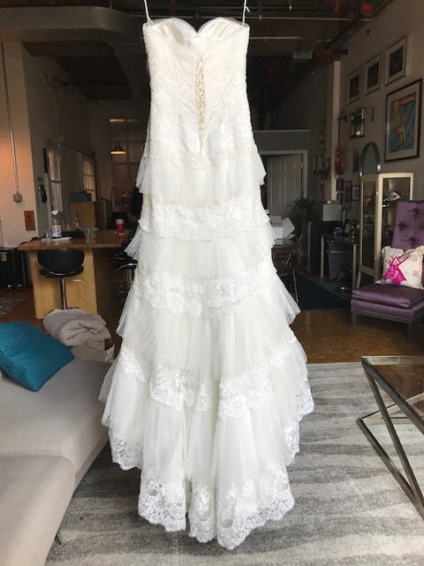 Mia Solano 'M424C' size 6 sample wedding dress back view on hanger