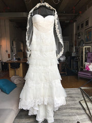 Mia Solano 'M424C' size 6 sample wedding dress front view on hanger
