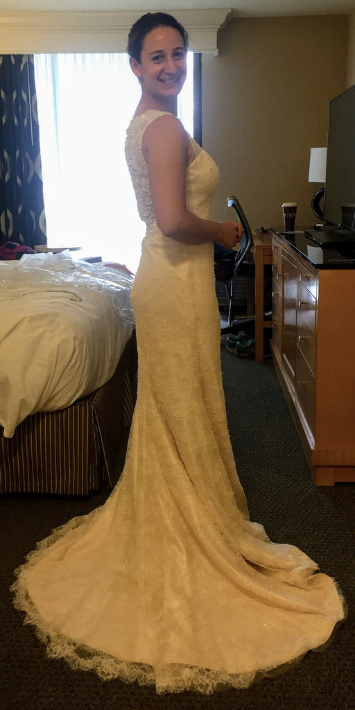 Essence of Australia '1673' size 8 used wedding dress side view on bride