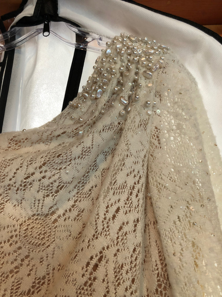 Theia 'One Shoulder' size 2 used wedding dress view of beading