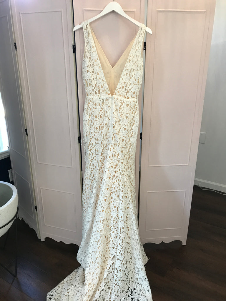 Sarah Seven 'Paige' size 8 used wedding dress back view on hanger