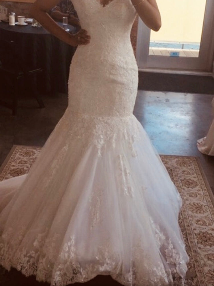 Maggie Sottero 'Marianne' size 2 new wedding dress front view on bride