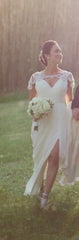 Hayley Paige 'Georgette' size 4 used wedding dress front view on bride