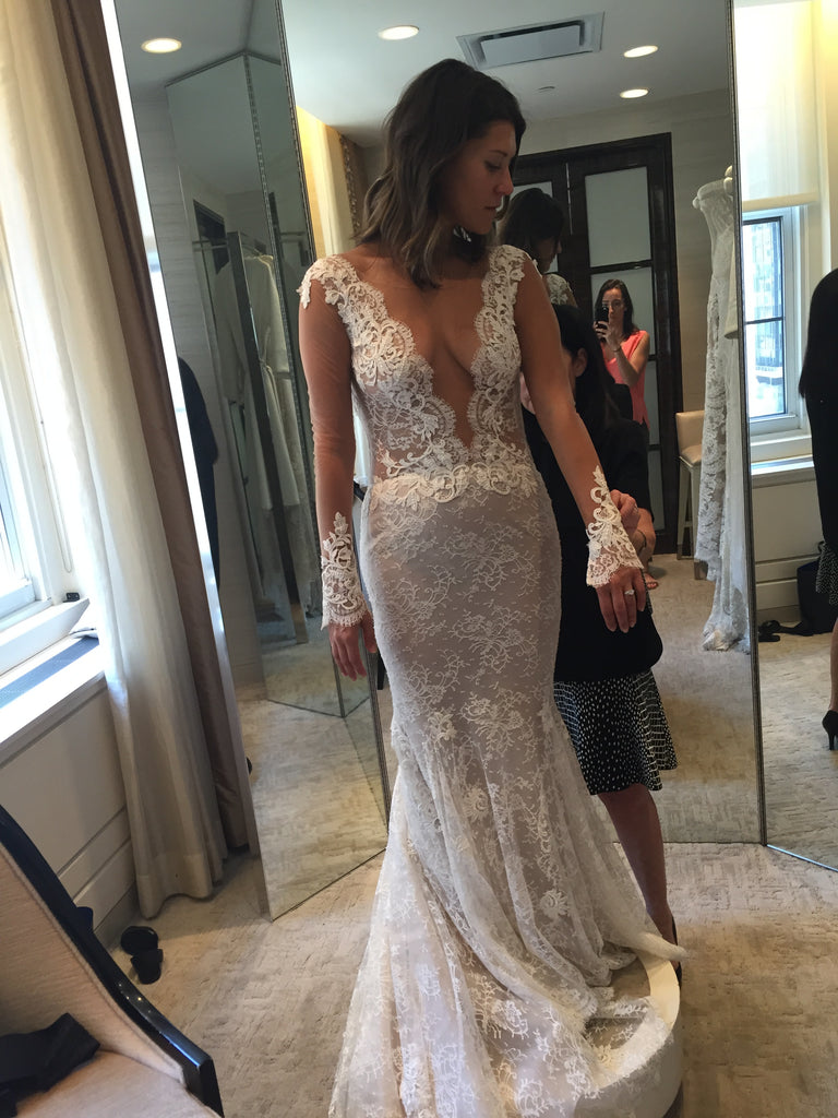 Ines Di Santo 'Madrid' size 6 used wedding dress front view on bride