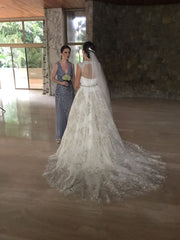 Cristiano Lucci 'Raquel' size 4 used wedding dress back view on bride