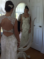 Maggie Sottero 'Jade' size 2 used wedding dress front/back views on bride