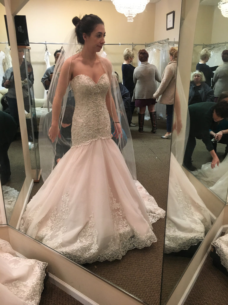 Allure Bridals '9325' size 2 sample wedding dress front view on bride