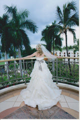 Jim Hjelm Semi Sweetheart Ruffled Ball Gown with Platinum Sash - Jim Hjelm - Nearly Newlywed Bridal Boutique - 4