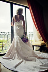 Lazaro: vanilla fit & flare silk satin with alencon lace detail - Lazaro - Nearly Newlywed Bridal Boutique - 1