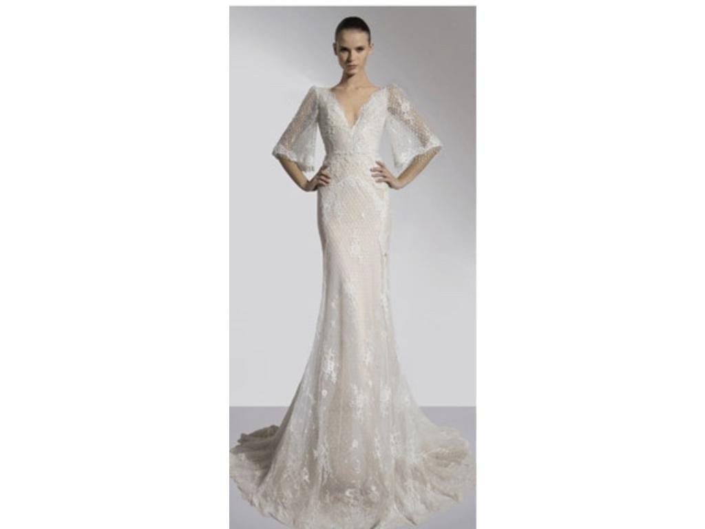 Inbal Dror '14-06' size 2 used wedding dress front view on model