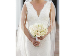 Inbal Dror '14-06' size 2 used wedding dress front view close up on bride