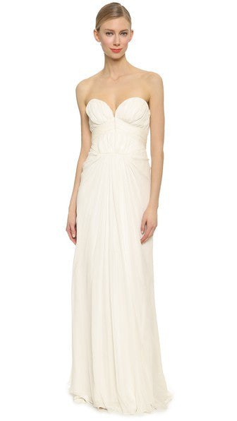 J Mendel 'Strapless Pleated' size 2 new wedding dress front view on model