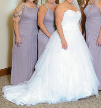 Load image into Gallery viewer, Jewel 'Strapless Tiered Tulle' size 14 used wedding dress side view on bride