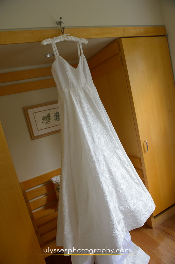 Rebecca Schoneveld 'The Whitney' size 6 used wedding dress front view on hanger