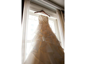 Jim Hjelm '8962 Semi Sweetheart' size 6 used wedding dress front view on hanger