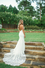 Essence of Australia 'Sexy Lace' size 6 used wedding dress back view on bride