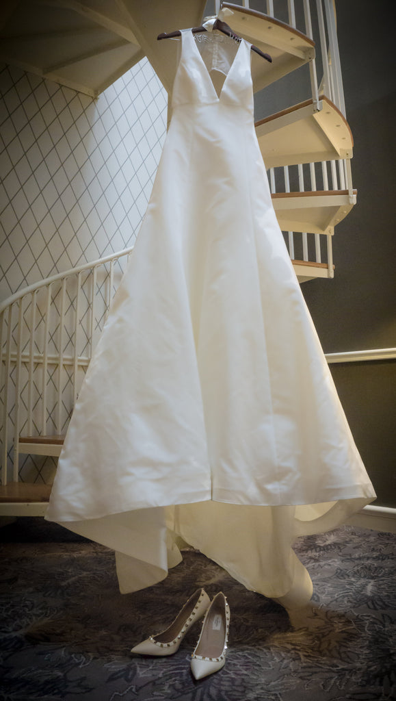 Amsale 'Keaton' size 4 used wedding dress front view on hanger