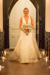 Amsale 'Keaton' size 4 used wedding dress front view on bride