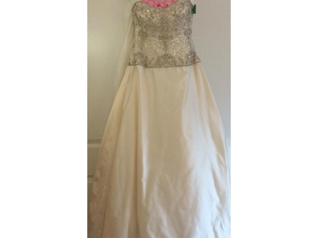 Kenneth Pool 'Luna' size 8 sample wedding dress front view on hanger
