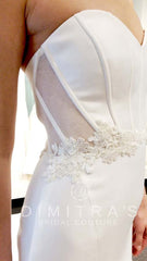 Kenneth Pool 'Milani' size 6 sample wedding dress front view close up on bride