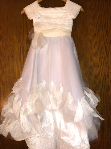 Ivory and Lavender Elaborate Flower Girl Dress With Cap Sleeves Exquisite Bride Style 118