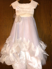 Exquisite Brides 'Ivory and Lavender Elaborate Flower Girl Dress- 118'  size 8 child' flower girl dress front view