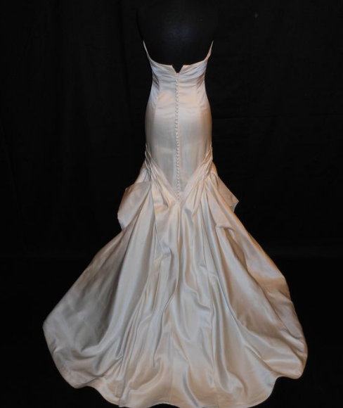 Priscilla of Boston 'LIA' size 8 used wedding dress back view on mannequin