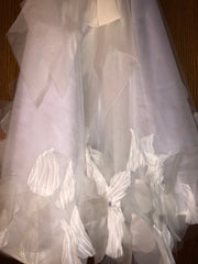 Exquisite Brides 'Ivory and Lavender Elaborate Flower Girl Dress- 118' size 8 child's flower girl dress view of train