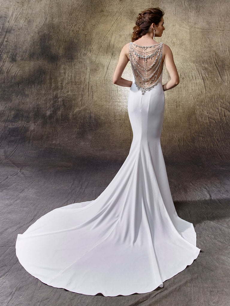 Enzoani 'Lacy' size 8 new wedding dress back view on model