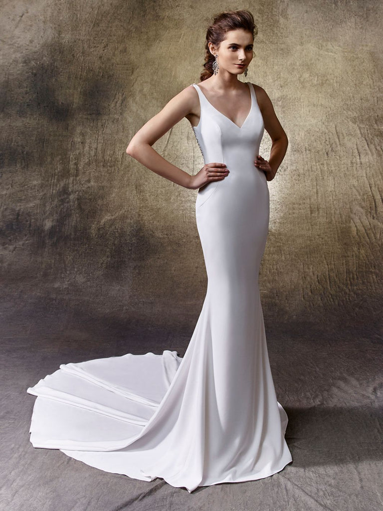 Enzoani 'Lacy' size 8 new wedding dress front view on model