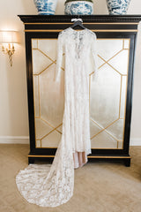 Lela Rose 'The Canyon' size 2 used wedding dress front view on hanger