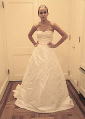 Reem Acra Silk Strapless A-line Wedding Dress - Reem Acra - Nearly Newlywed Bridal Boutique - 1