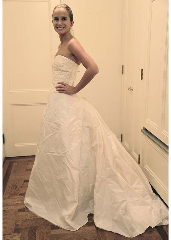 Reem Acra Silk Strapless A-line Wedding Dress - Reem Acra - Nearly Newlywed Bridal Boutique - 2