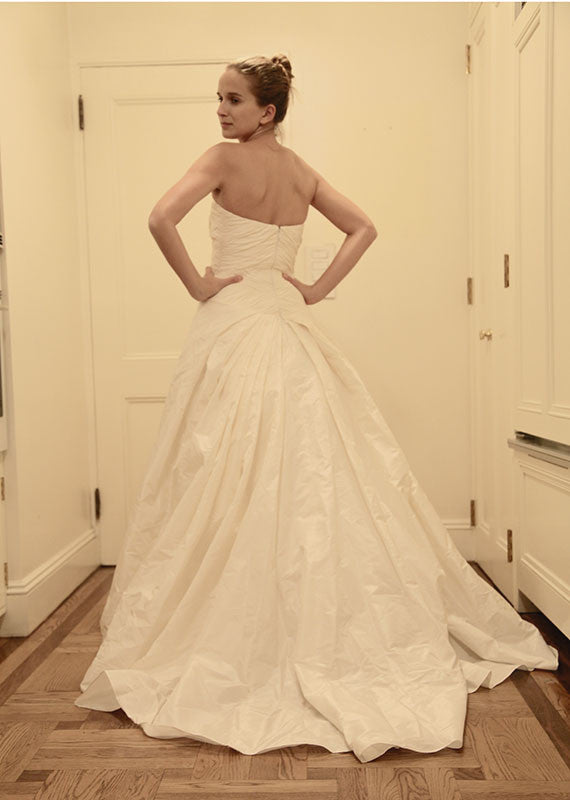 Reem Acra Silk Strapless A-line Wedding Dress - Reem Acra - Nearly Newlywed Bridal Boutique - 3