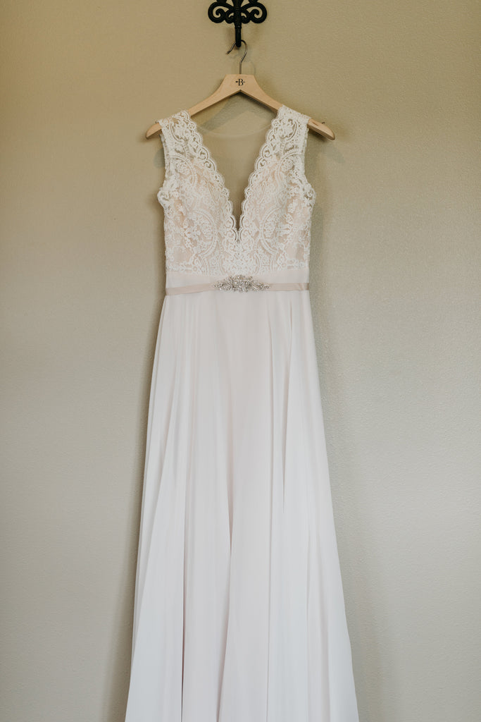 BHLDN 'Taryn' size 2 used wedding dress front view on hanger