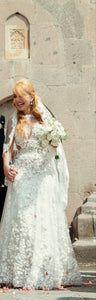Bridal Reflections 'Two In One' size 6 used wedding dress front view on bride