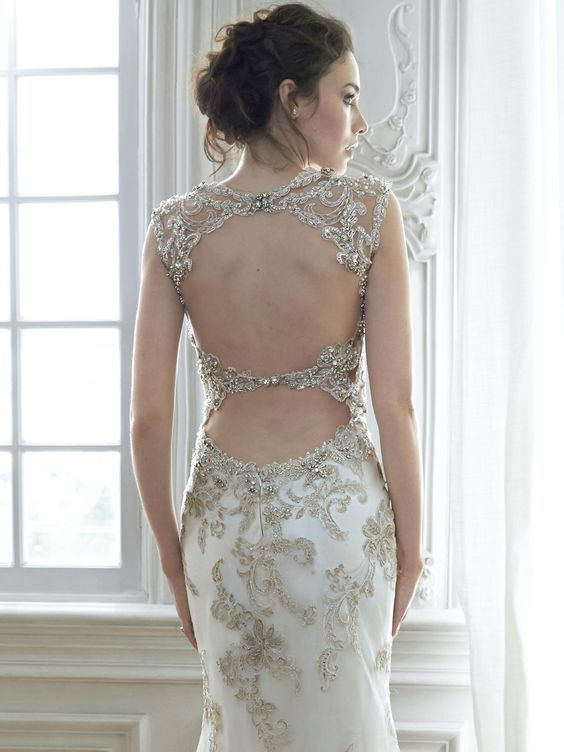 Maggie Sottero 'Jade' size 8 new wedding dress back view on model