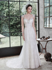 Maggie Sottero 'Alanis' size 8 new wedding dress front view on bride