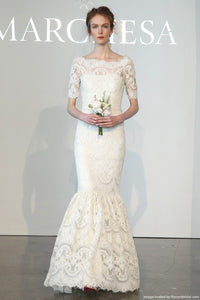 Marchesa lace 3/4 sleeve mermaid - Marchesa - Nearly Newlywed Bridal Boutique - 6