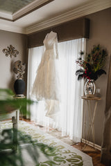 Martina Liana 'Romantic' size 8 used wedding dress front view on hanger
